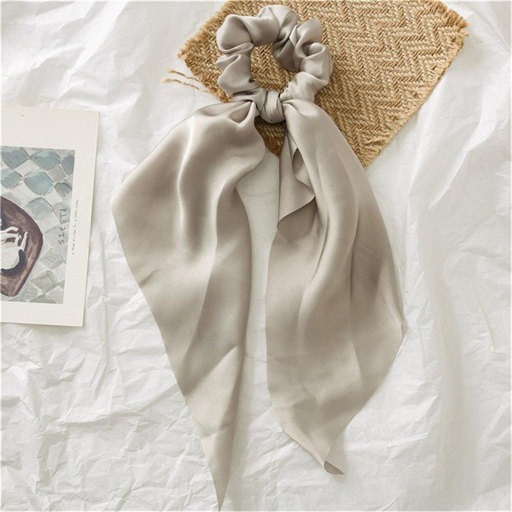 Летние Стильные многоцветные женские головные уборы тюрбан DIY лук стримеры резинки для волос конский хвост галстуки твердые головной убор - Цвет: Grey