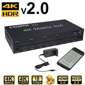 HDMI 2.0 Matrix 4X4 HDMI Matrix 4X4 HDMI Splitter Switcher 4 in 4 out Matrix with RS232&EDID control HDCP 2.2 4KX2K/60HZ HDR