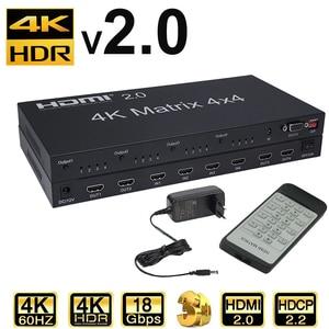 HDMI 2,0 matriz 4X4 Matriz HDMI 4X4 divisor HDMI Switcher 4 en 4 matriz con RS232 y EDID control HDCP 2,2 4KX2K/60HZ HDR