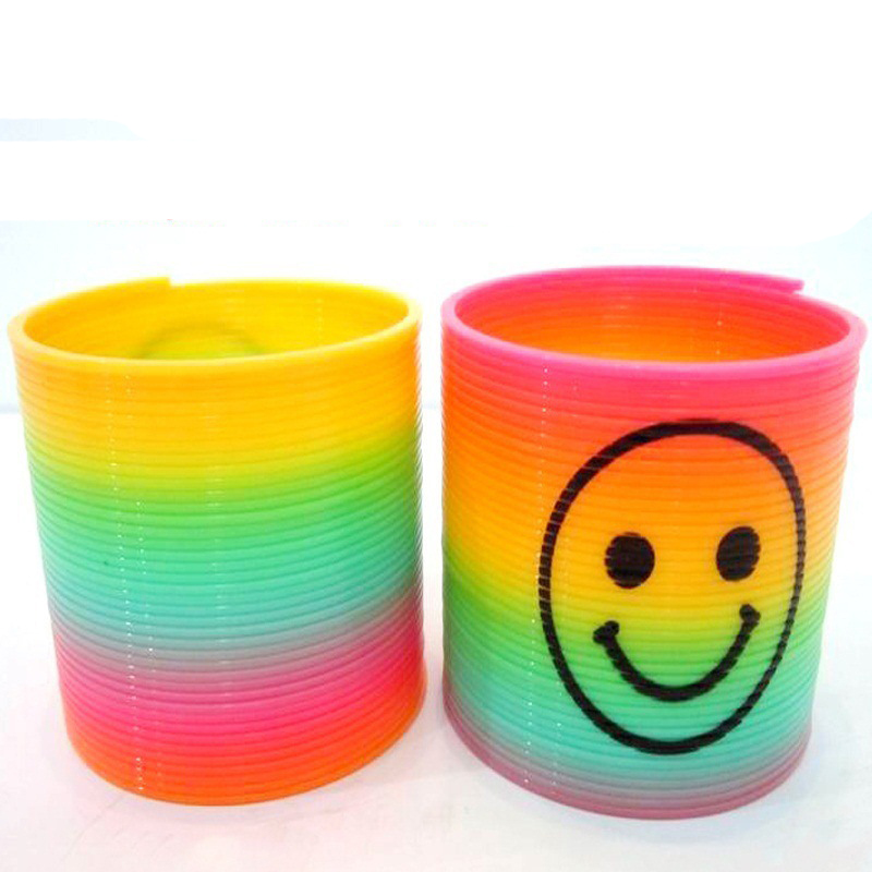 10pcs Magic Plastic Smile Rainbow Spring Colorful Circle Coil Elastic Ring Educational Toys For Children Games Funny Gift