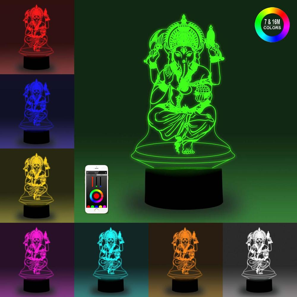 NiteApps 3D Ganesha Night Light Desk Table Illusion Decoration Lamp Holiday Birthday Gift APP/Touch Control