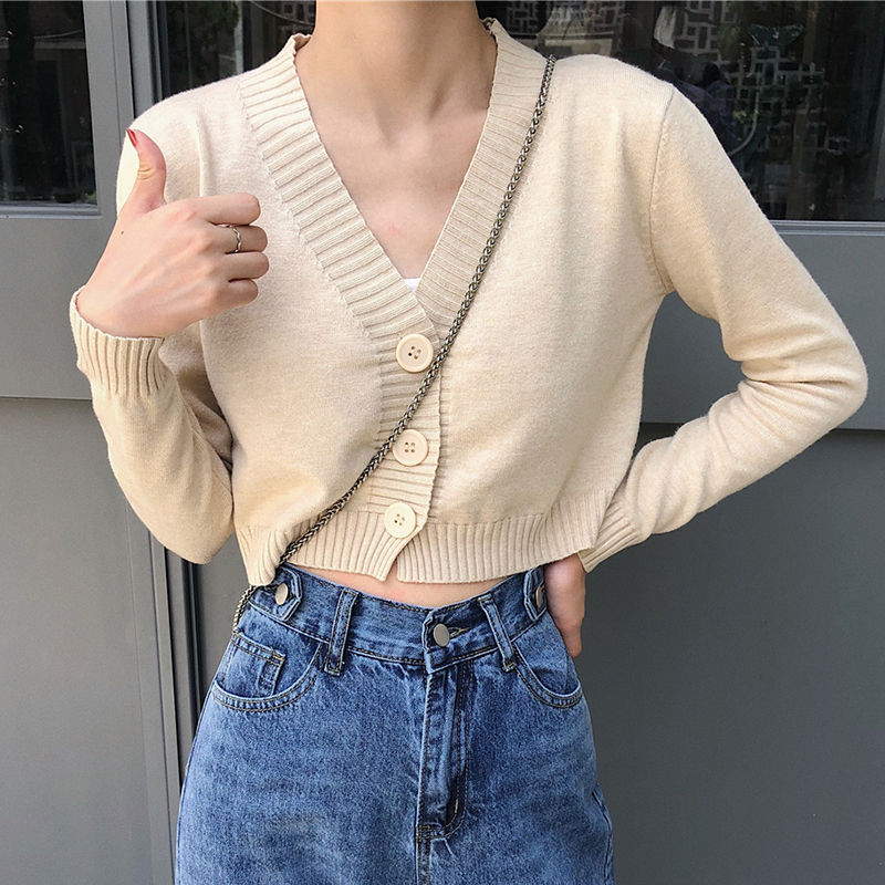 Cropped Cardigans Sweaters Female With Button Black White Short Sweater Mujer V Neck Long Sleeve Sweater Women Knitted Cardigans