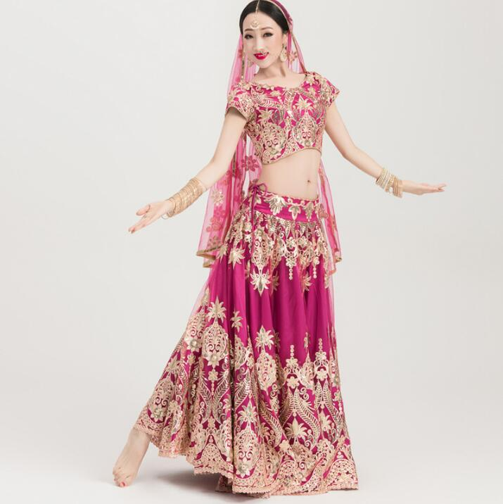 India Sarees Traditional Embroidery Costume Ethnic Style Lehenga Choli Woman Performance Dance Suits Gorgeous Top+Skirt+Scarf