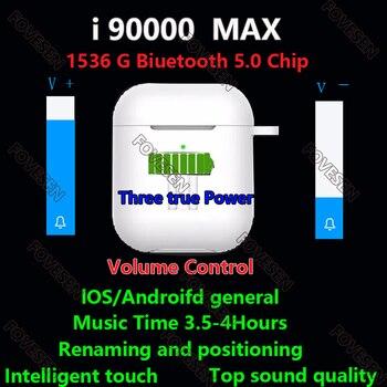 Original i90000 MAX TWS Wireless Earphone Air2 Rename Bluetooth 5.0 Earphone Volume Control Super Bass Earbuds PK i99999 Plus