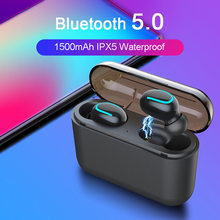 3D Stereo Suara Bluetooth V5.0 Earphone Portable Tws Wireless Earbud dengan 1500 M Ah Kasus Sport Bass Headset(China)