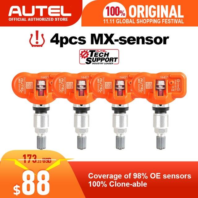 4pcs Autel MX 센서 433MHZ 315MHz MX 센서 Autel TS601 TS401 TPMS 패드 OBD2 프로그래밍 가능 범용 TPMS 센서