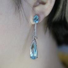 Huitan Изящные серьги-капли с небесно-голубым кубическим цирконием для женщин, Длинные Стильные Модные женские ювелирные серьги, продажа с фаб...