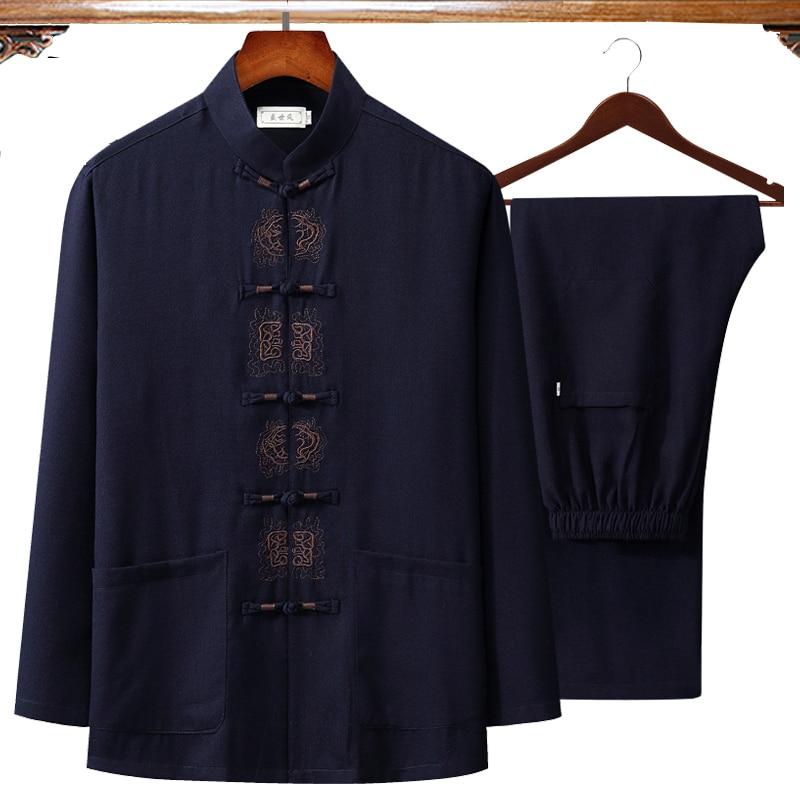 2019 Autumn New Embroidery Chinese Men's Cotton Linen Wu Shu Clothing Long Sleeve Shirt & Long Pant Kung Fu Tai Chi Suit 4XL