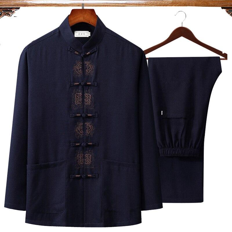 Новинка Осень 2021, одежда Wu Shu из хлопка и льна с вышивкой в китайском стиле, рубашка с длинными рукавами и длинные брюки, костюм кунг фу, Тай Чи 4XL|Наборы| | АлиЭкспресс