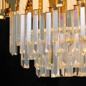 Image 5 - Manggic現代クリスタルランプシャンデリアリビングオーバル高級ゴールドラウンドステンレス鋼線シャンデリア照明