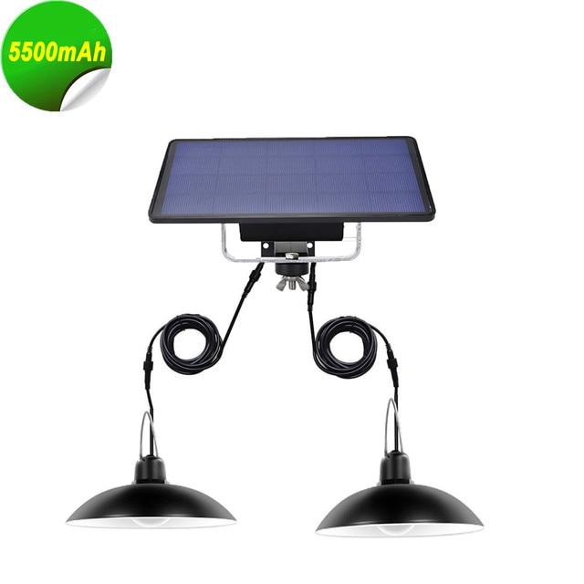 Luminária led de emergência solar, duas cabeças, para áreas externas/internas, à prova d água ip65, para acampamento, jardim, casa, barraca, lustre