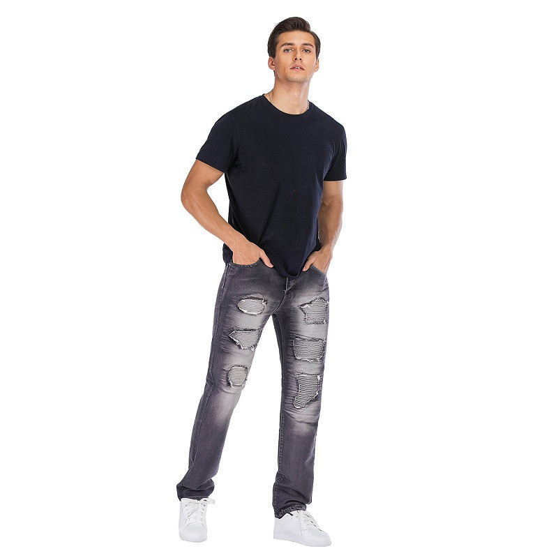Fashion Men`s Motorbike Motorcycle Jeans Denim Trousers Cool Teens Youth Boys Washed Holes Pleated Male Straight Pants 29-42 (25)