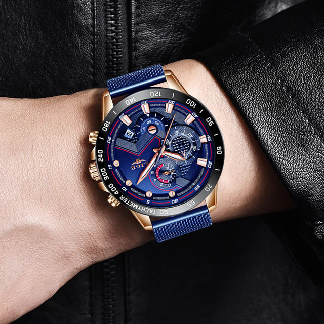 LIGE hommes montres Top marque de luxe 5