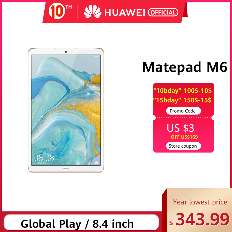 Original Huawei Mediapad M6 Tablet 64GB WIFI LTE Kirin980 Octa Core Turbo 8.4 Inch Android 9.0 With Google Play 6100mAh Type-C