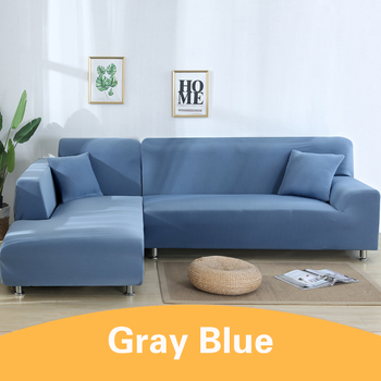 2Pcs Sofa Cover for Living Room Couch Cover Elastic L Shaped Corner Sofas Covers Stretch Chaise Longue Sectional Slipcover - Blue, 2-Seat and 4-Seat