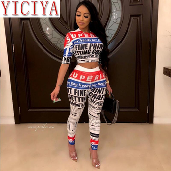 2020 summer tracksuit for Women summer letter newspaper print short sleeve o-neck tee pencil pants suit two 2 piece set outfit trendy style scoop neck letter print short sleeves tee for women