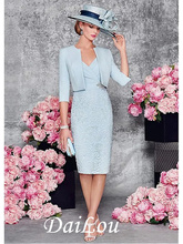 Two Piece Sheath / Column Mother of the Bride Dress Wrap Included Plunging Neck Knee Length Lace Satin Half Sleeve 2021