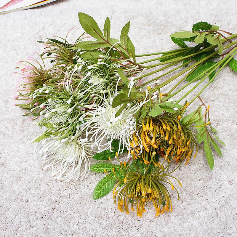 Wit Leucospermum Kunstbloemen Lange Tak Nep Bloem Plastic Bloemen voor Bruiloft Decoratie Tuin Outdoor Hoge Kwaliteit