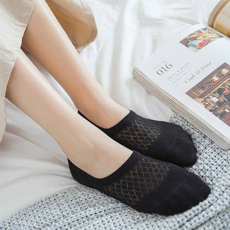 Women'fashion  Socks 2019 New Summer Short School Style Cotton Solid Color Mesh Breathable Women Fashion Ankle Socks For Women