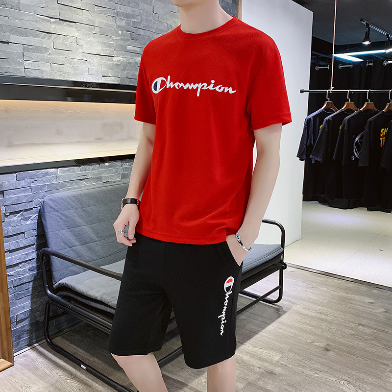 2019 New Style Summer Sports Set MEN'S T-shirt Running Fitness Thin Short Sleeve Short Shorts Sports Trend Clothes