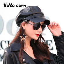 Fashion Solid farbe Achteckige Kappe Hüte Weibliche Herbst Winter Leder Panama Stilvolle Künstler Maler Newsboy Caps Beret Frau hut