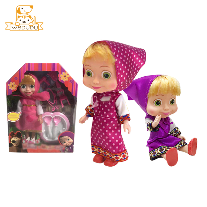 Cute Masha Movable Anime Princess Action <font><b>Figures</b></font> Toys Girl Cartoon Figurines Sister Russian Model Dolls For Baby Kid Decor Gifts image