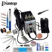 New Eruntop 8586 디지털 디스플레이 전기 납땜 인두 + DIY 핫 에어 건 더 나은 SMD 재 작업 스테이션
