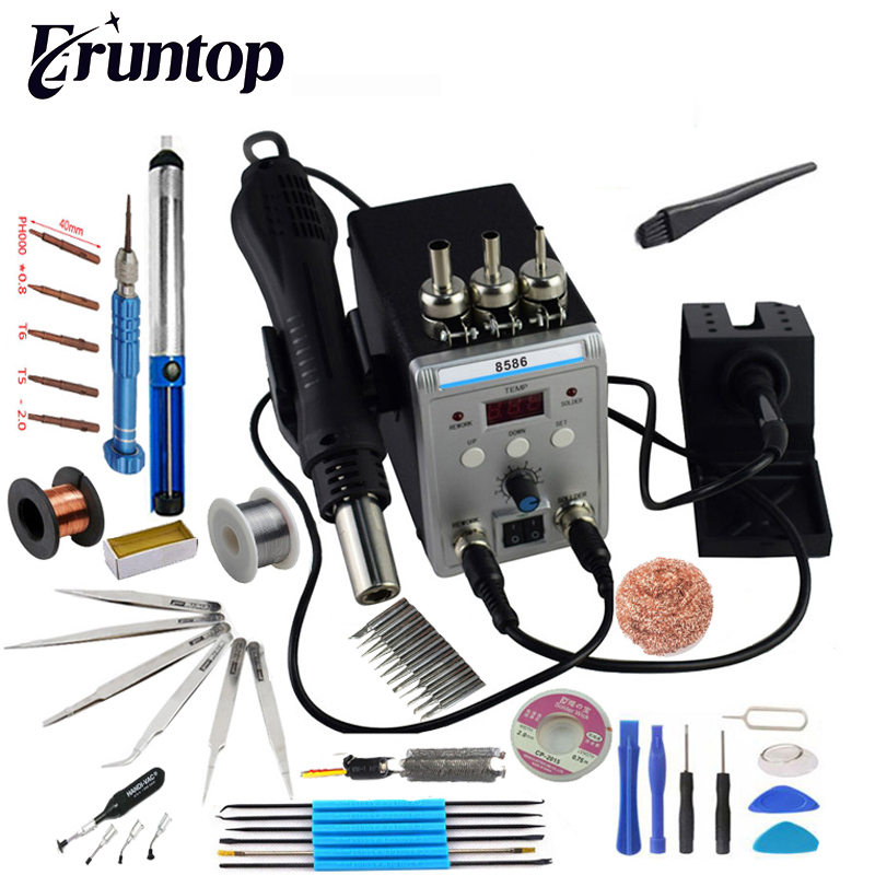 New Eruntop 8586 Digital Display  Electric Soldering Irons  DIY Hot Air Gun Better SMD Rework Station