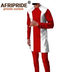 Африканская традиционная одежда для мужчин, спортивный костюм, рубашки с длинными рукавами и брюки из Анкары, Дашики, наряды, укороченный то...