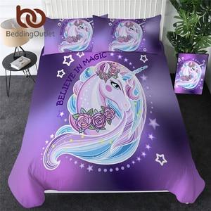 Image 1 - BeddingOutlet Cartoon Unicorn Kids Bedding Set King Rose Floral Duvet Cover Girly Home Textiles Purple Bedclothes 3pcs Drop Ship