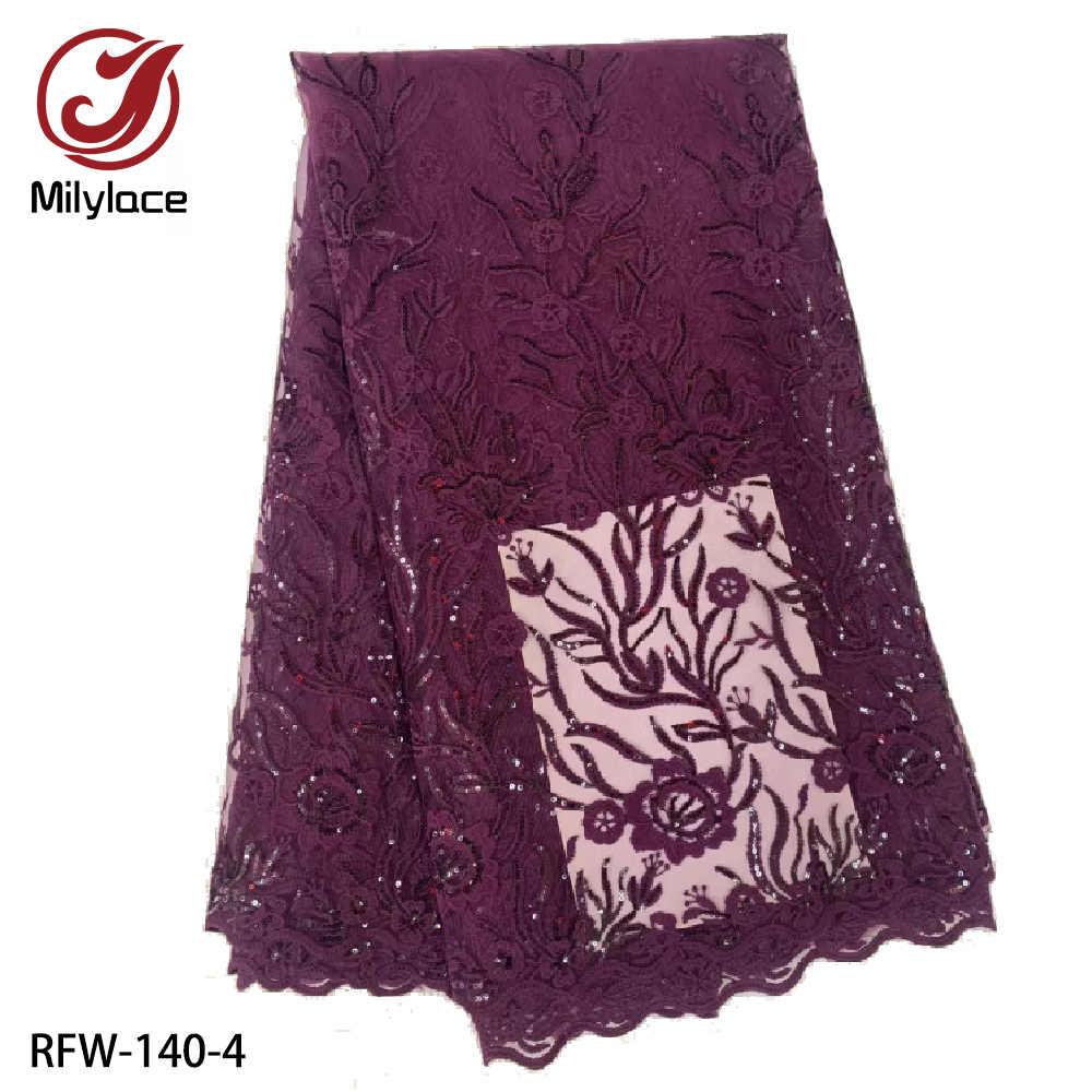 Французская Кружевная Ткань 5 ярдов вышивка чистая кружевная ткань с блестками Африканское молочного цвета Шелковое кружево ткани для свадьбы RFW-140