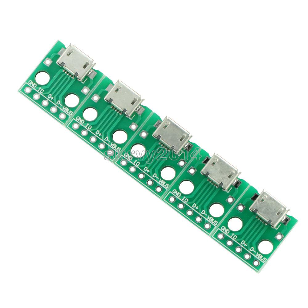 5PCS Micro USB To DIP Adapter Connector Module Board Panel Female 5-Pin Pinboard 2.54mm Micro USB PCB
