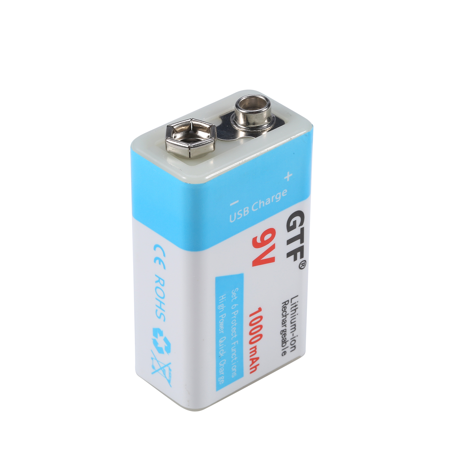 GTF 9V 1000mAh/500mAh USB Battery Li-polymer Rechargeable Battery USB Lithium Battery For Toy Electronic Product Drop Shipping