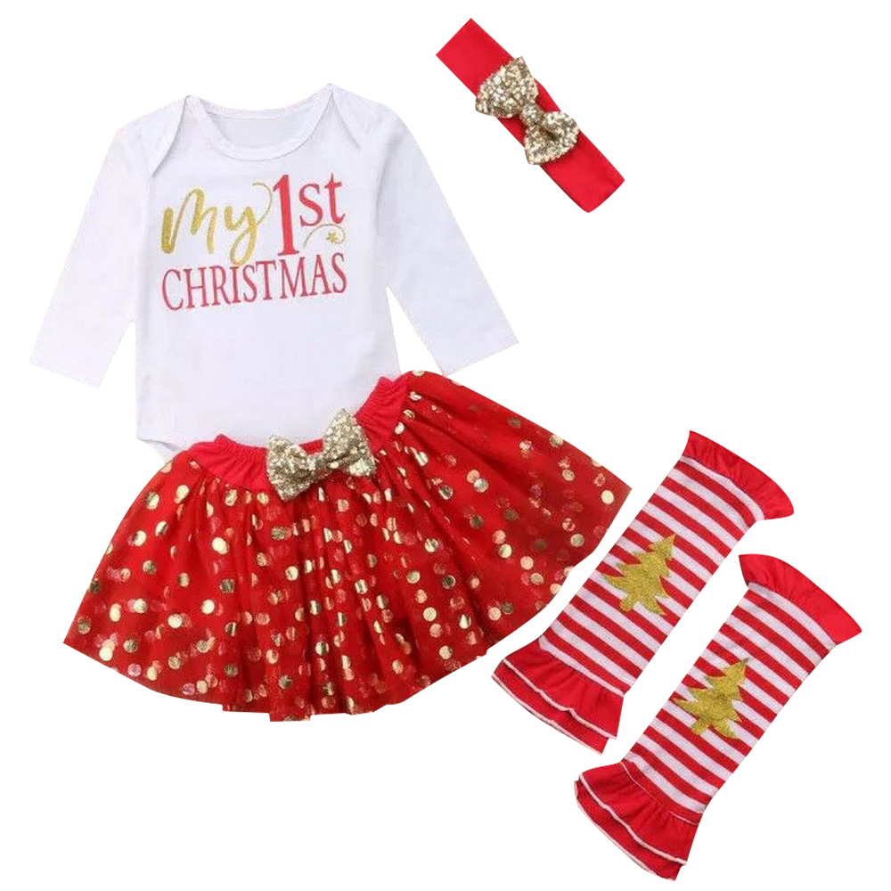 Bow Headband Baby Girls Christmas Outfit Costume Long Sleeve Romper Tutu