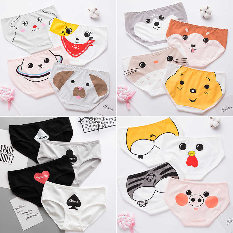 원활한 코 튼 팬티 소프트 통풍 여자 팬티 란제리 뜨거운 새로운 2019 새로운 귀여운 동물 고양이 엉덩이 만화 속옷 여자
