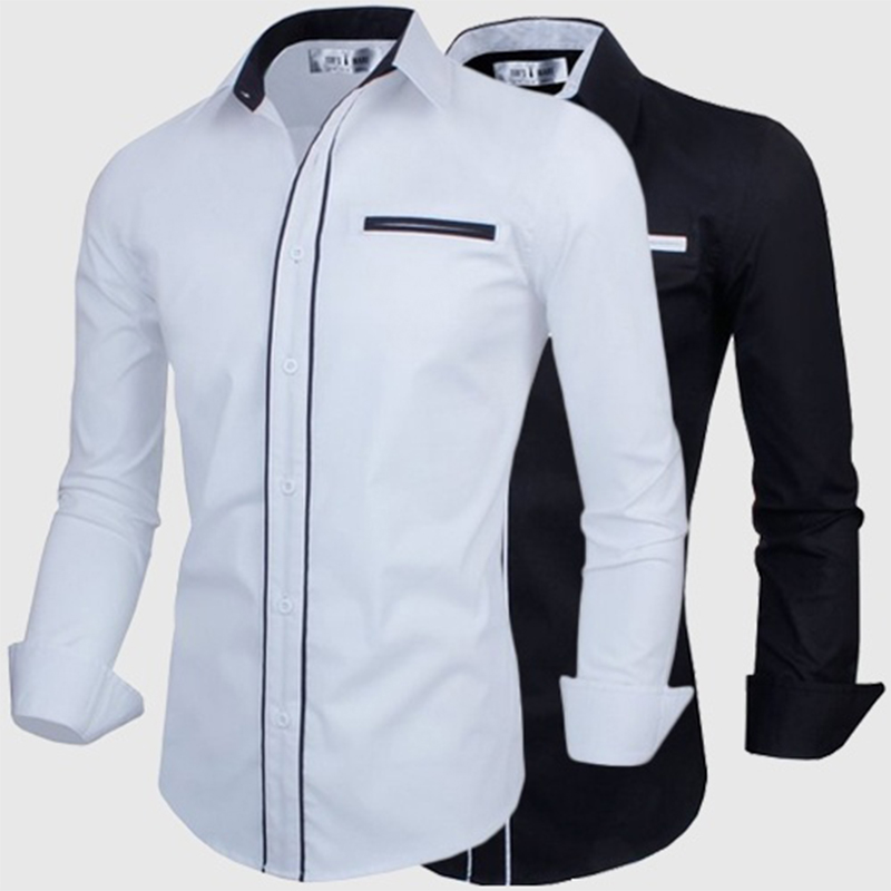 Zogaa Hot Sale Pure Color Long Sleeves Slim Casual Spring Summer Cotton Shirt Men Turn-Down Collar Business Dress Shirts Male