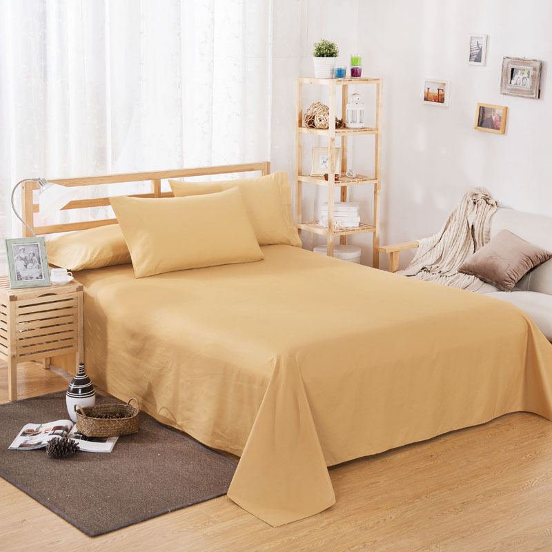 ropa de cama Solid color polyester cotton bed sheet hotel home soft brushed flat sheet queen bed cover not included pillowcase 19