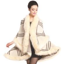 цены на Women Winter Knit Faux Fur Coat Trim Layers Poncho Cape Shawl Open Front Cloak Cardigan Sweater Cape Coat Fashion 2019  в интернет-магазинах