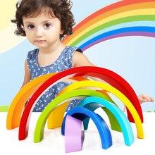 Детские деревянные цветные радужные строительные блоки jinga