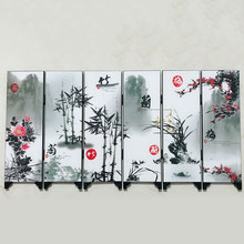 Flower Bamboo Screen Room Divider Wood Folding Partition Business Ornament(China)