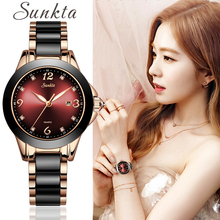 SUNKTA Womens Watch Ceramic Diamond Ladies Fashion Sport Waterproof Quartz Wristwatch Relojes Para Mujer+Box