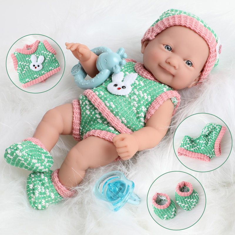 25CM Realistic Bebe Reborn Doll Waterproof Simulation 10 Inch Full Body Soft Silicone Newborn Baby Doll Clothes Set For Toy Kids