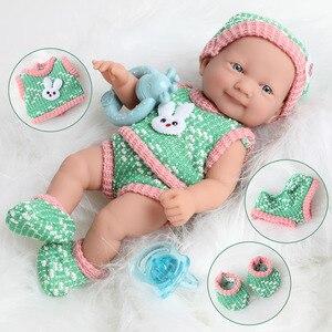Реалистичная Детская кукла-младенец, 25 см, реальное тело 10 дюймов, мягкая силиконовая кукла-младенец, комплект одежды для новорожденных, игр...