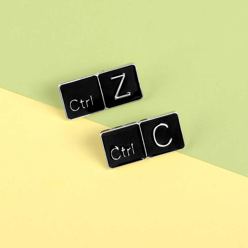 Computer Cancel Copy Hotkey Enamel Pins Common Button Brooches Badges Bag Clothes Lapel Pins special Jewelry Gift For Programmer