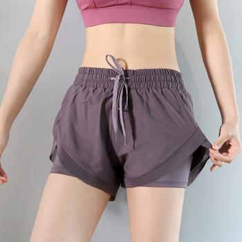Kobiety Mesh joga szorty lato wysokiej talii szorty do biegania szybkie suche siłownia luźna szeroka nogi szorty Fitness odzież sportowa w etui na telefon tanie i dobre opinie WOMEN Oddychające Pasuje prawda na wymiar weź swój normalny rozmiar