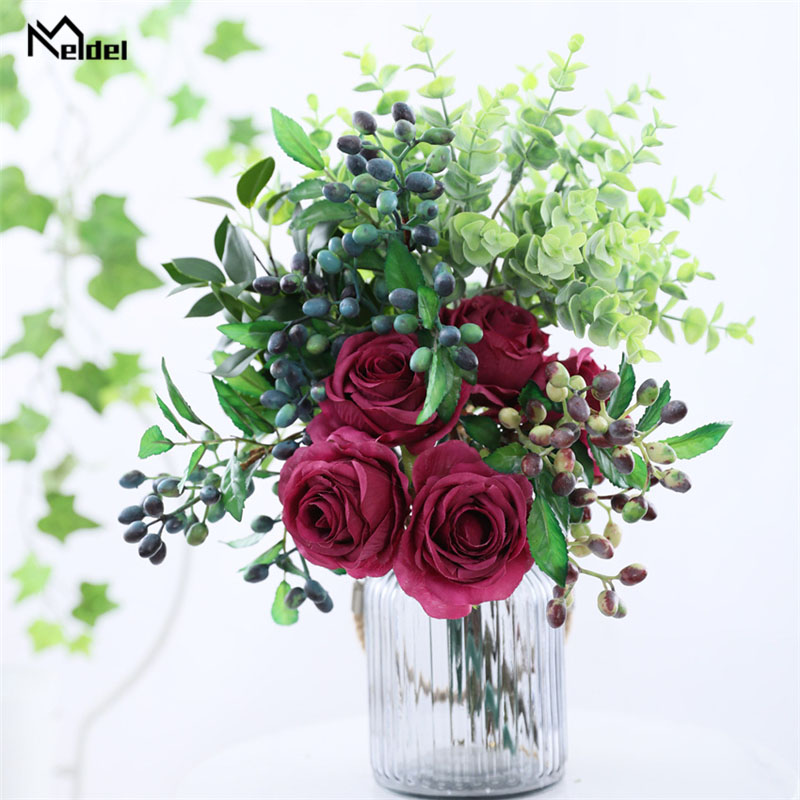 Red Pink Silk Fake Flowers Wedding Accessories 5 Pcs Small Rose Artificial Flowers Bouquet Fake Rose Flowers Wedding Home Decorr Wedding Bouquets Aliexpress