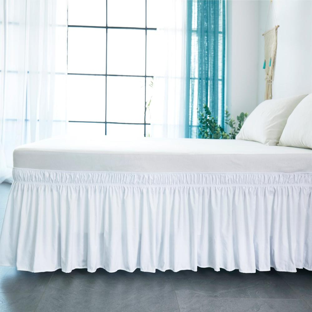 Bed Skirt White Wrap Around Elastic Bed Shirts Without Bed Surface Twin /Full/ Queen/ King Size 38cm Height Home Hotel Use