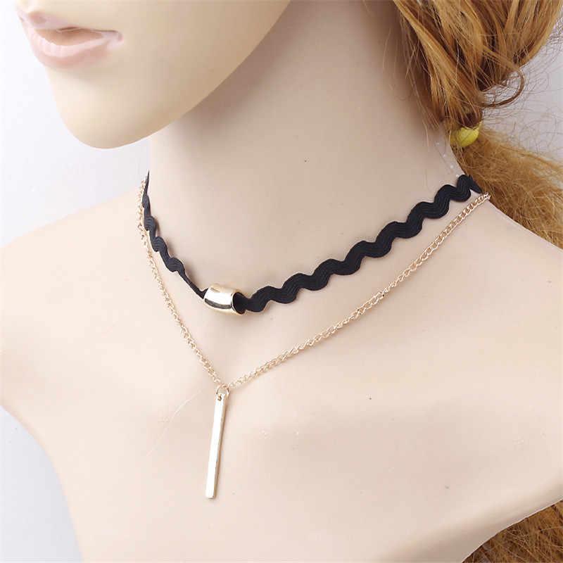Nowy etniczny styl wielowarstwowy Choker naszyjnik kobiety moda biżuteria złoty łańcuch naszyjnik kreatywne naszyjniki prosty wisiorek Choker