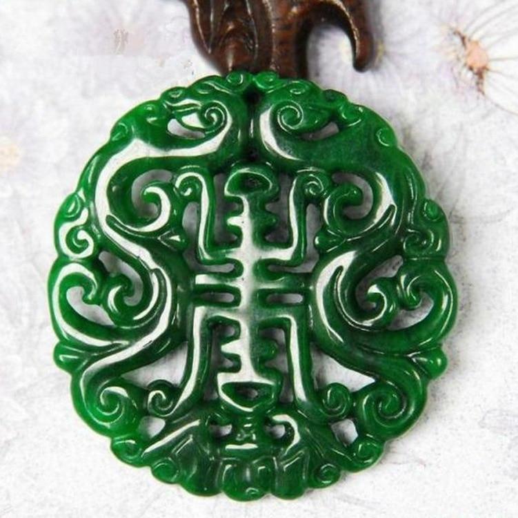 Genuine Jadeite Hand-Carved  Green Jade Pendant Gift Jade Necklace Pendants Women Men Hollow Jade Jewelry Add Certificate