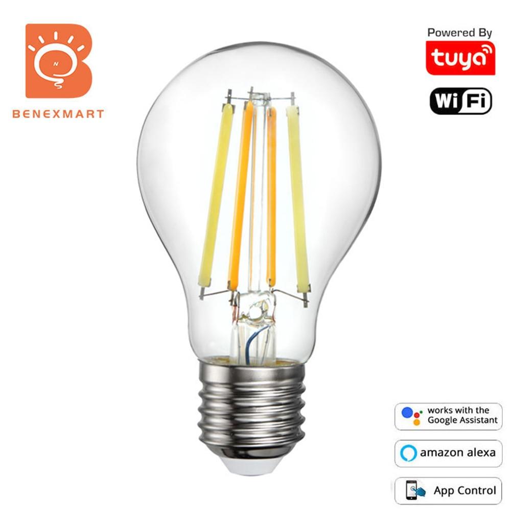 Светодиодная лампа накаливания Benexmart Tuya с Wi-Fi, E27, A60, теплый белый, холодный белый, Вольфрамовая Лампа накаливания, Ретро лампа Эдисона Alexa